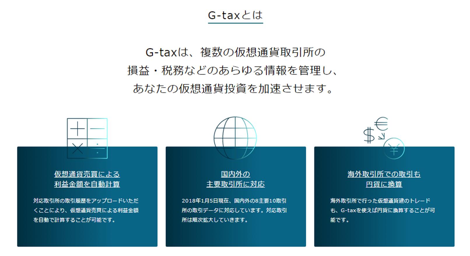 仮想通貨の税金を計算するG-taxの説明